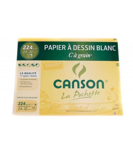 Pochette de 12 feuilles à dessin blanc CàGrain 24x32cm, 224g, Canson