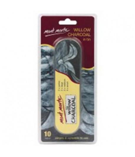 Boîte de fusains assortis, 4 tailles, 10 pièces (willow charcoal), Mont Marte