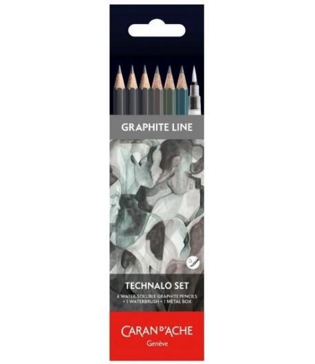 Boîte de 6 crayons graphites RGB (graphite line technalo set), Caran d'Ache