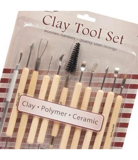 Outils de modelage assortis, 11 formes (Clay tool set), Mont Marte