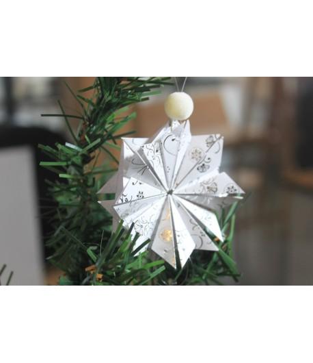 Kit créatif : étoile de noël en origami (argenté)