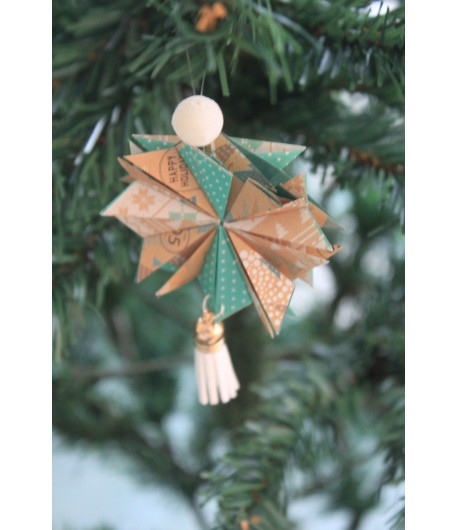 Kit créatif : étoile de noël en origami (jaune/vert)