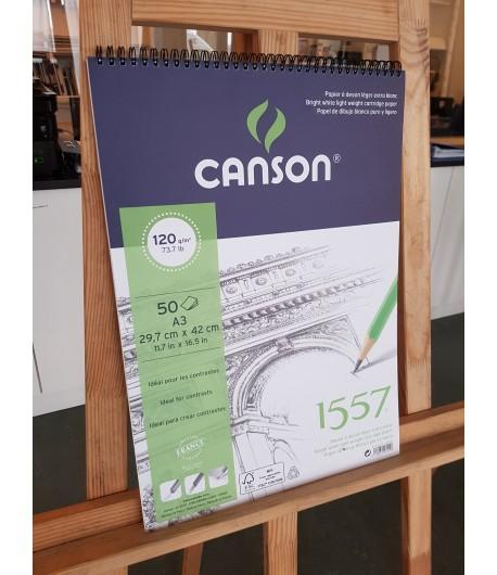 Carnet à dessin 1557 léger extra blanc A3, 50 feuilles, 120g/m², Canson