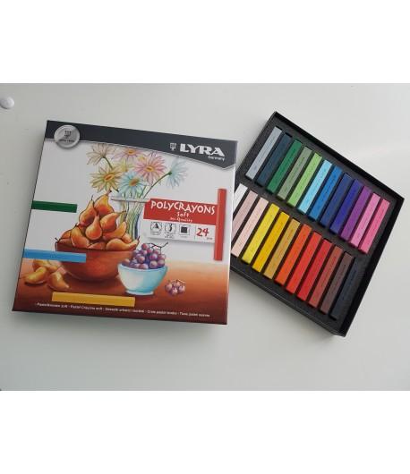 Boîte de 24 pastels assortis, Polycrayons soft, Lyra