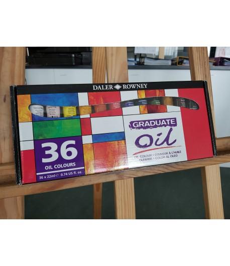 Boîte de 36 couleurs à l'huile, tubes de 22ml, Graduate oil, Daler Rowney