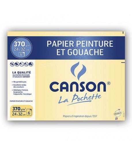 Pochette de 6 feuilles peinture et gouache, 370g, Canson