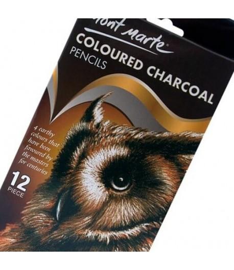Crayons fusains x12 pièces (coloured charcoal), Mont Marte