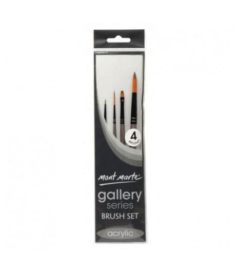 Ensemble de 4 pinceaux acryliques de précision (gallery series brush set acrylic), Mont Marte