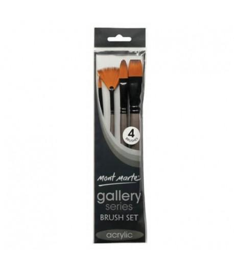 Ensemble de 4 pinceaux acrylique (gallery series brush set acrylic), Mont Marte