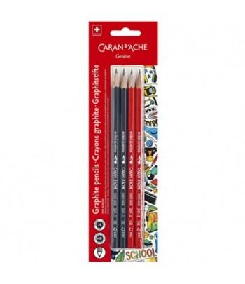 Boîte de 4 crayons graphite (2x3B et 2xHB), Caran d'Ache